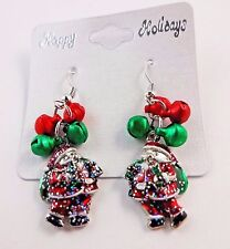 Santa Earrings Dangle Christmas Accessory Glittered Silver Red Green Bells