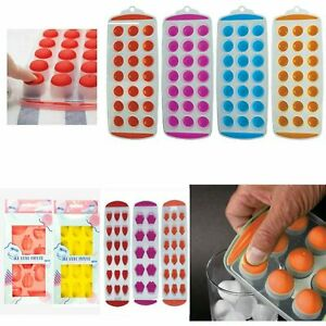 Ice Cube Tray Pop Up with Silicone Soft Push Various Colours
