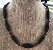 Mens Beaded Necklace of Natural Blackstone and Round Red Agate Stones Handmade