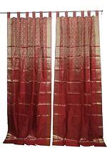 INDIAN SARI CURTAIN RED GOLDEN BROCADE WINDOW TREATMENT DRAPES CURTAINS