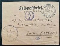 1943 Munich Germany Labour Prison Camp KZ Letter Cover To Sicily Italy