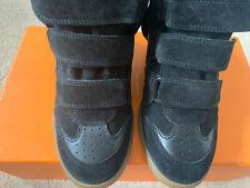 Isabel Marant Suede & Bekett Wedge Sneaker Black Boots, UK4