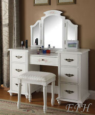 NEW FLORAL JEZEBELL WHITE FINISH WOOD 7 DRAWER VANITY TABLE w/MIRROR & BENCH SET