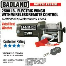 NEW Badland 2500 lb 12V Electric Trailer UTV ATV Winch w/Wireless Remote Control