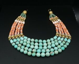 """Masha Archer Red Spiny Oyster Bead Turquoise Necklace 19-24"""" For Repair -"""
