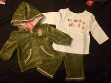 NWT Gymboree GINGERBREAD GIRL green velour hoodie jacket pants ivory top 3 6 mos