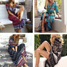Womens Ethnic Split Maxi Dress V-Neck Long Sundress Short Sleeve Hippie Gypsy