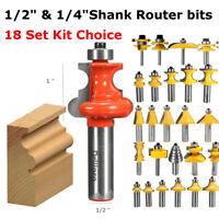 1/4'' 1/2'' Shank Frese Fresa Taglio Router Bit Set 18Tipo Per Legno Fresatrice
