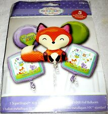 Anagram WELCOME BABY! with Baby Fox Foil Balloon Bouquet 5 Balloons