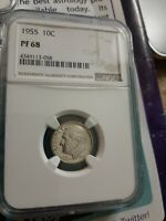 1955 10c Silver Proof Roosevelt Dime NGC PF 68