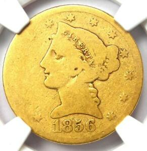 """1856-S Liberty Gold Half Eagle $5 - NGC AG3 - Rare Date """"S"""" Mint Gold Coin!"""