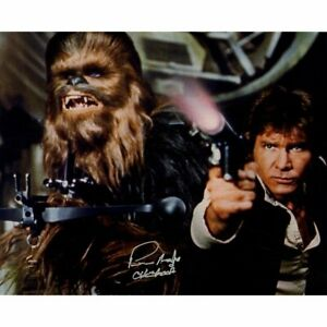 Peter Mayhew Signed Star Wars Chewbacca 16x20 Photo w/ Harrison Ford STEINER COA