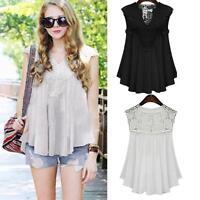 Plus Size Women Summer Lace Splice Blouse Vest Sleeveless Tank Top Shirt Tops