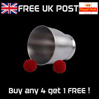 Professional Aluminium Chop Cup with 2 Crochet Balls - Magic Trick Prop - NEW