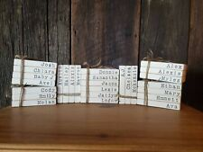 Personalized Mini Wooden Stamped Books, Family Name Books, Farmhouse Decor
