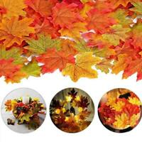 50Pcs Autumn Maple Leaf Fall Fake Silk Leaves Craft Wedding Party XMAS Decor Hot
