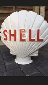 Half SHELL Globe Classic Car Garage Not Enamel Sign BP CASTROL Oil Petrol Pump