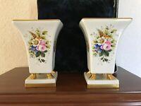 "Vintage Vista Alegre Portugal Ceramic Matching Gilded Vases 9"" tall"