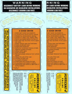 Vintage Military Willys Kaiser Jeep M38A1 G758 DOUBLE Decal Set