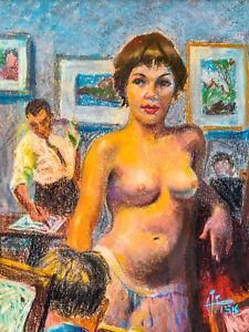 ILLUSTRATION ARTSIST HARRY T. FISK PASTEL NUDE PORTRAIT - MID-CENTURY