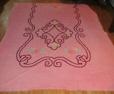 """Vintage Chenille Bed Spread, Coral w Flowers, 80x96""""  Beautiful"""