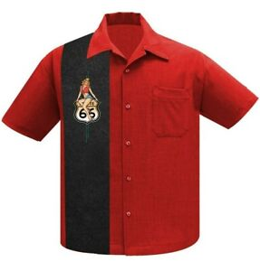 Steady Clothing Route 66 Pin Up Rockabilly Bowling Button Down Shirt ST35473-RED