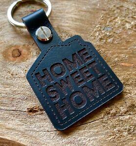 HOME SWEET HOME Keyring Keychain Key Fob House Black Leather