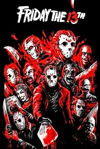 Friday The 13th Movie Poster - Evolution of Jason Voorhees Collectors Art - NEW