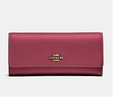 COACH Soft Trifold LEATHER Wallet~39745~Dusty rose / gold ~ NWT $150