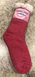 Women Sherpa Slipper Fuzzy Fleece Lined Thick Knit Sock Solid Glitter Shine 9-11