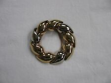 VINTAGE GOLD TONE & SILVER TONE WREATH SHAPED SCARF CLIP