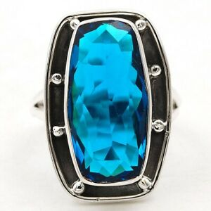 12CT London Blue Topaz 925 Solid Sterling Silver Ring Jewelry Sz 7 K2-9