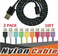 2 pack 10ft iPhone charging cord lightning charger cable apple 5 6 7 8 plus ipad