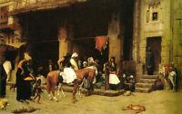 "Oil painting Jean-Leon Gerom - A Street Scene in Cairo & Horsemen canvas 36"""