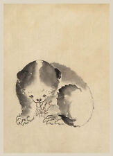 Japanese Drawing Reproduction: A Cat cleaning its paws - Fine Art Print