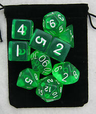 Translucent Green RPG Dice Set: 7 + 3d6 = 10 polyhedral die plus bag!