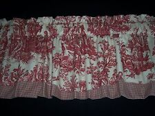 **RED ON CREAM~WAVERLY Country Life Toile Scalloped/Check Trim Valance Curtains!