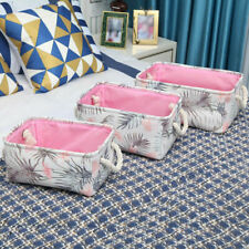 Cotton Linen Storage Basket Container Cosmetics Toys Organizer Table Decor 3Size