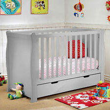 NEW 4BABY GREY SLEIGH BABY COT WITH STORAGE DRAWER & SPRUNG DELUXE MATTRESS