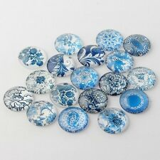 10 Blue & White 12mm Printed Half Round Domed Glass Cabochons (CAB1C1)