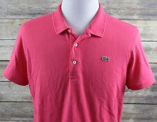 Lacoste 7 Short Sleeve Polo Shirt MENS XL pink cotton pique devanlay alligator