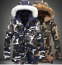 Winter Mens Thicken Camo Cotton Padded Outwear Jacket Coat Fur Hooded Parka Warm