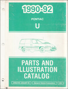 1992 Pontiac Trans Sport Parti Libro Illustrato Master Parte Catalogo Transsport