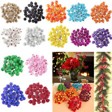 200Pcs Artificial Flowers Fake Berries with Stem DIY Wedding Party Home Decor
