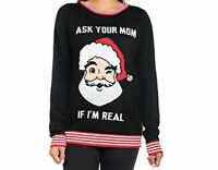 Christmas Sweater Tipsy Elves Women's Ask Your Mom Sweater Size Large Black