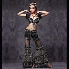 Luxury Tribal Style Blouse+Long Pants+Hip Belt 3pcs set Belly Dance Costumes