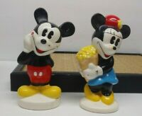 VINTAGE DISNEY MICKEY AND MINNIE MOUSE CERAMIC SALT AND PEPPER SHAKERS