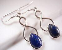 Lapis Teardrop 925 Sterling Silver Dangle Earrings Corona Sun Jewelry