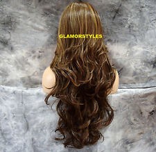"""33"""" Wavy Blonde Brown Mix Long Lace Front Wig Heat Ok Hair Piece #8/27/613 NWT"""