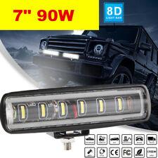 "Single Row 7"" 90W LED Light Bar Slim Offroad SPOT Driving 4WD Boat SUV 12V24V"